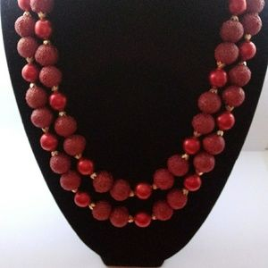 Vintage Double Strand Cinnabar Red Necklace